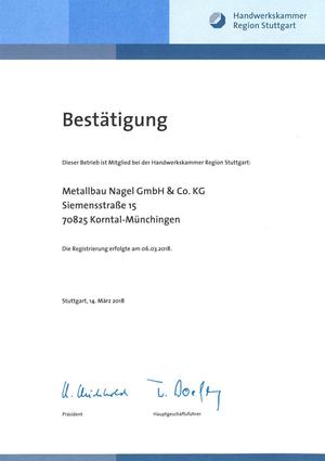 Bestätigung Handwerkskammer Region Stuttgart