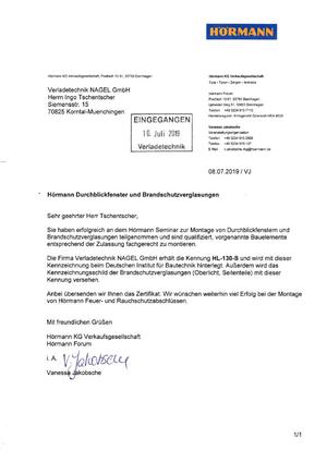 Eintragung Deutsches Institut für Brandschutzverglasung