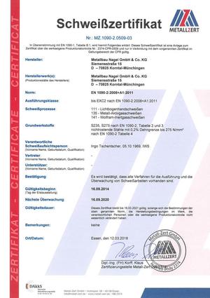 Schweißzertifikat EN1090