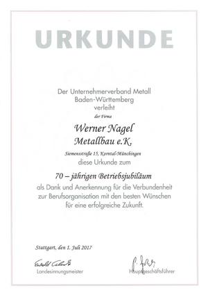 Urkunde Betriebsjubiläum