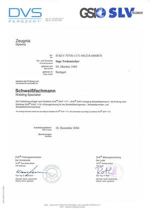 Schweißzertifikat DVS